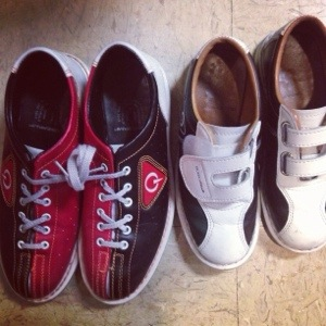Mine and Lindsay's bowling shoes! Hers are so tiny